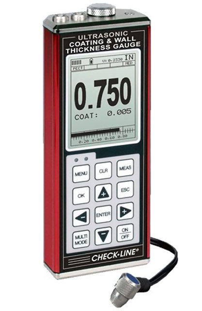 TI-CMXDL-2225 Data-Logging Combination Coating and Wall Thickness Gauge with 1/4 in 2.25MHz Transducer for Thin Plastics